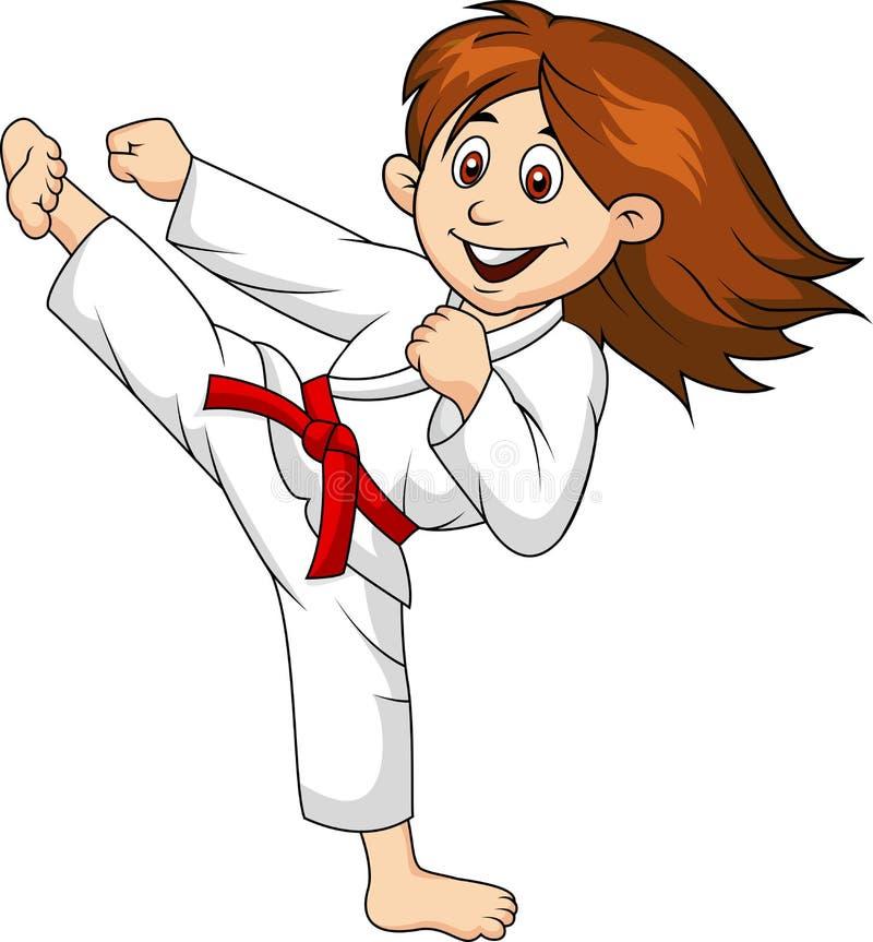 Bande dessinée de fille faisant l'art martial illustration libre de droits