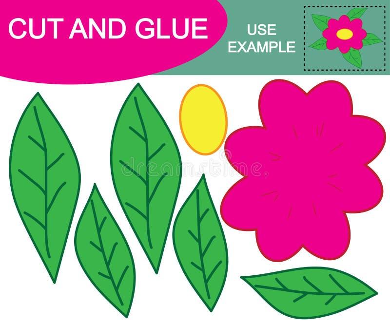 Bande dessinée de fleur Activité pour des enfants €œCut de jeu et  de papier de glue†Éducation illustration libre de droits