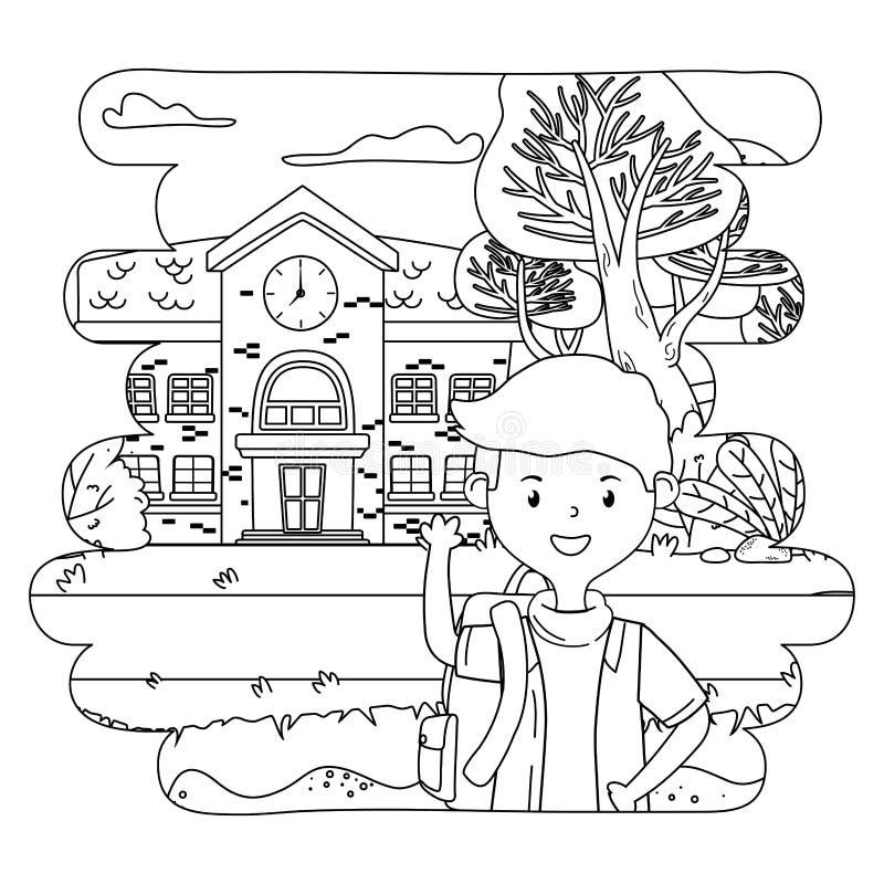 Bande dessinée de garçon de conception d'école illustration libre de droits