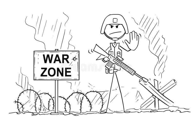 Bande dessinée de geste moderne d'arrêt d'On Battlefield Showing de soldat illustration de vecteur