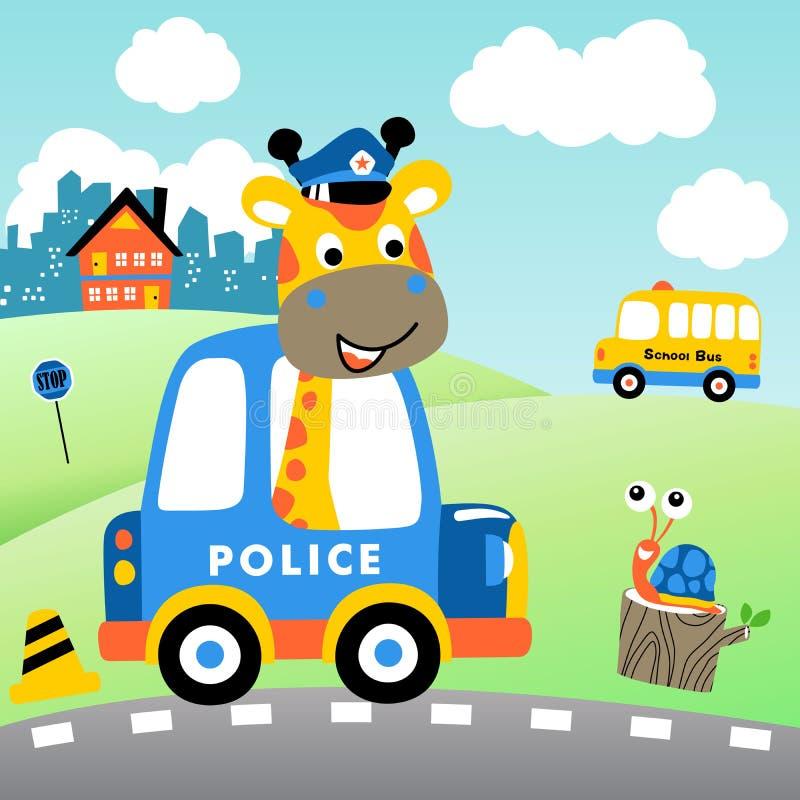 Bande dessinée de girafe la cannette de fil de trafic sur le fond de paysage urbain illustration libre de droits
