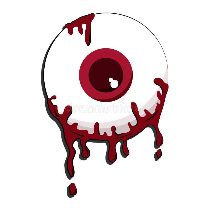 Bande dessinée de globe oculaire de sang sur le fond blanc image stock