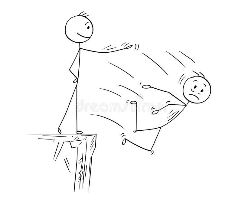 Bande dessinée de haute falaise de l'homme ou de Pushing Competitor From d'homme d'affaires illustration de vecteur