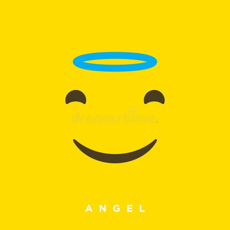 Bande dessinée de haute qualité de vecteur avec des émoticônes d'ange avec le style plat de conception, réactions sociales de méd illustration libre de droits