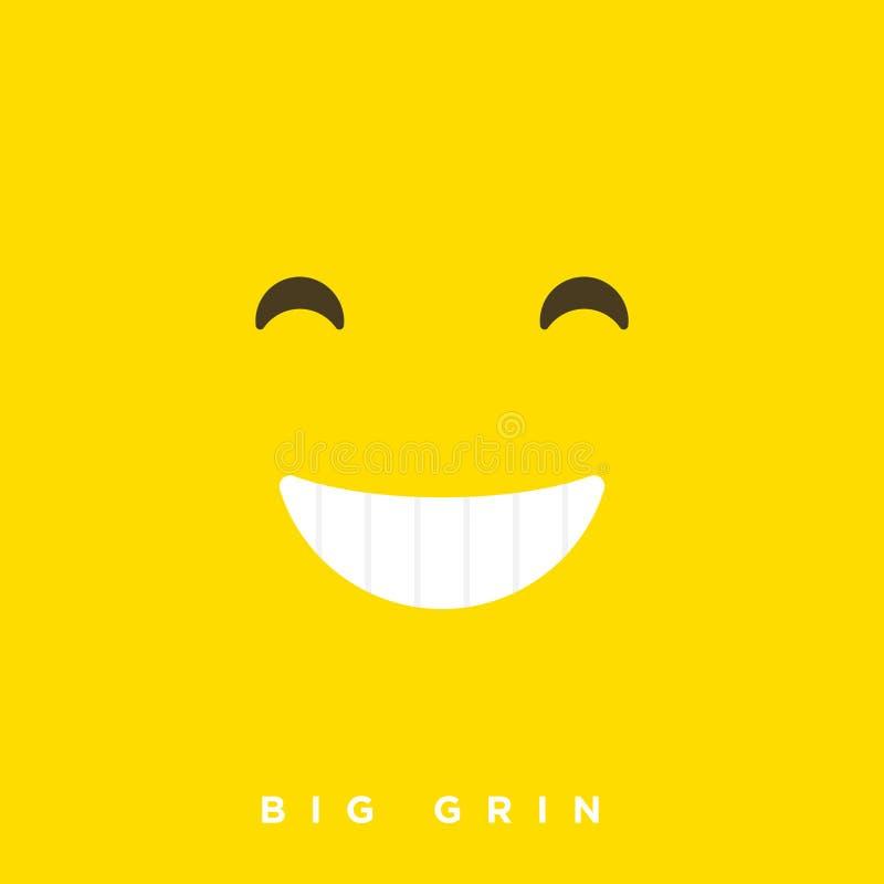 Bande dessinée de haute qualité de vecteur avec de grandes émoticônes de sourire de grimace avec le style plat de conception, réa illustration libre de droits