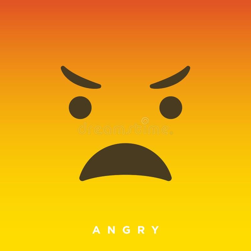 Bande dessinée de haute qualité de vecteur avec les émoticônes fâchées de visage avec le style plat de conception, réactions soci illustration stock