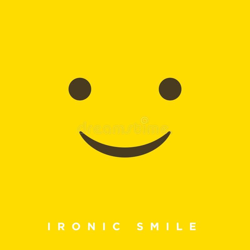 Bande dessinée de haute qualité de vecteur avec les émoticônes ironiques de sourire avec le style plat de conception, réactions s illustration de vecteur