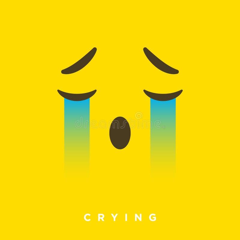 Bande dessinée de haute qualité de vecteur avec les émoticônes pleurantes de visage avec le style plat de conception, réactions s illustration libre de droits