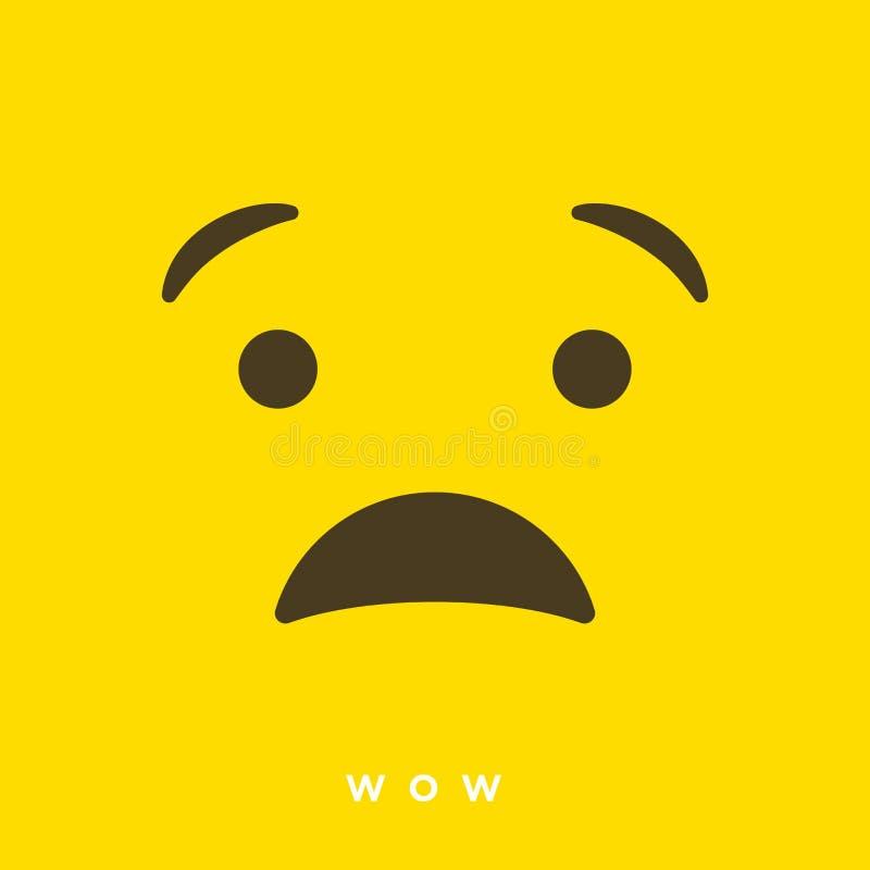 Bande dessinée de haute qualité de vecteur avec wouah des émoticônes avec le style plat de conception, réactions sociales de médi illustration de vecteur