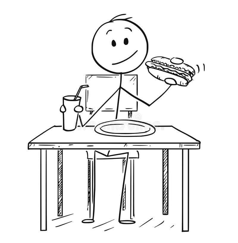 Bande dessinée de hot dog mangeur d'hommes et de boisson de kola ou carbonatée potable illustration libre de droits