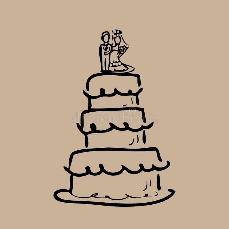 Bande dessinée de jeunes mariés de gâteau de mariage illustration stock