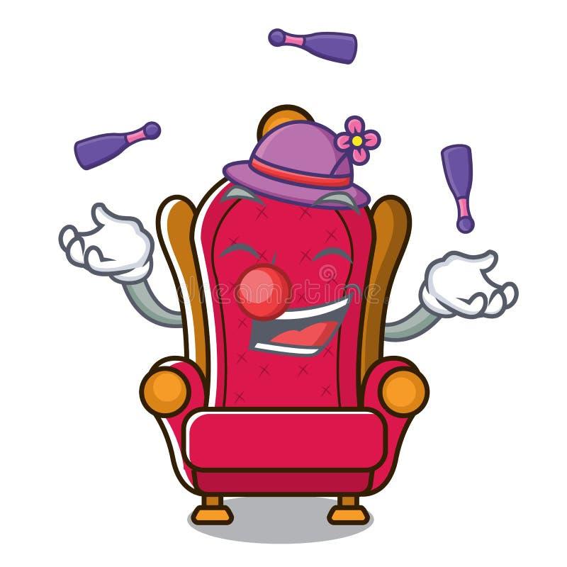Bande dessinée de jonglerie de mascotte de trône de roi illustration libre de droits