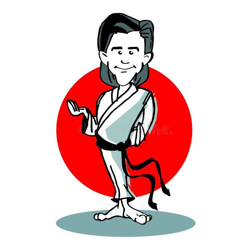 Bande dessinée de joueur de judo ou de karaté illustration libre de droits