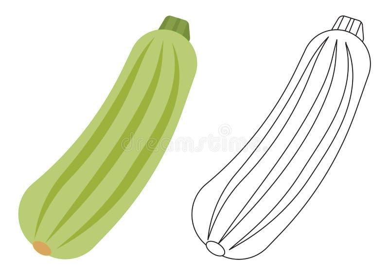 Bande dessinée de légume de courgette Page de coloration Jeu pour des enfants illustration libre de droits