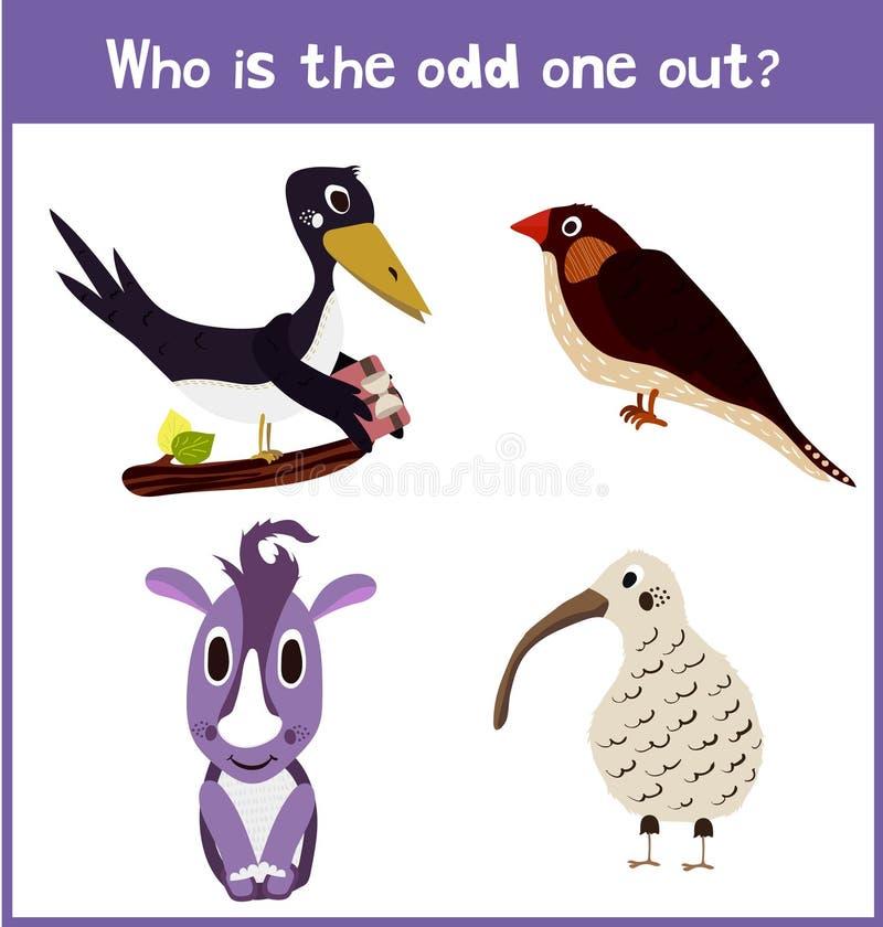 Bande dessinée de l'éducation pour trouver 1 animal familier supplémentaire illustration stock
