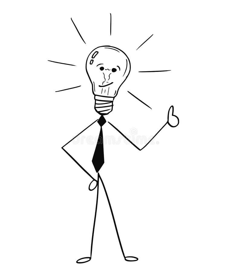Bande dessinée de l'ampoule d'homme d'affaires montrant des pouces  illustration de vecteur