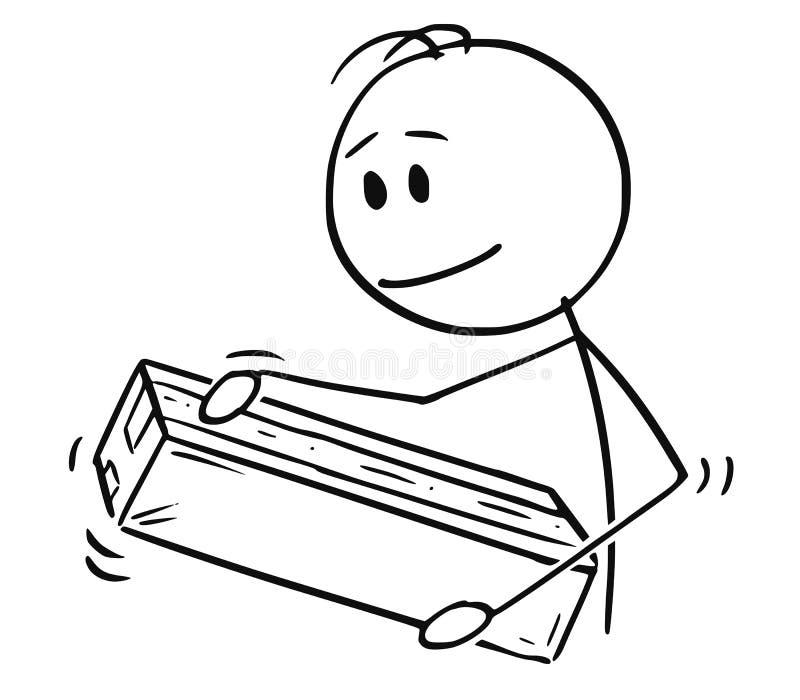 Bande dessinée de l'emballage ou de déballer de l'homme la boîte ou le paquet de papier de carton illustration stock