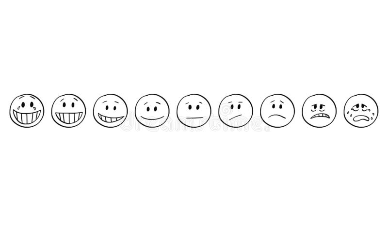Bande dessinée de l'ensemble de joie de Smiley Faces Showing Emotions From à la tristesse, souriant et triste illustration libre de droits