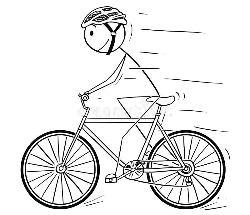 Bande dessinée de l'homme avec l'équitation de casque sur la bicyclette illustration de vecteur