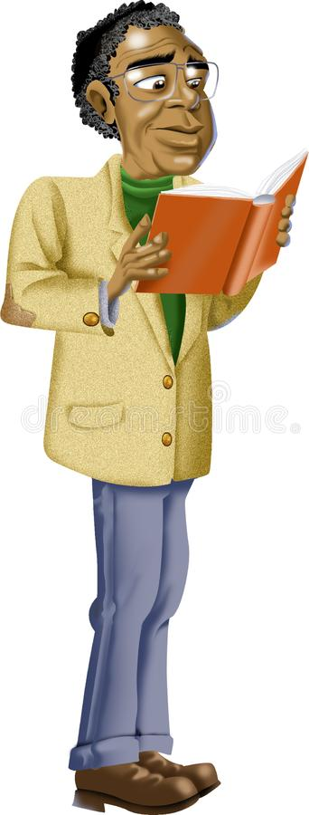 Bande dessinée de l'homme avec le livre de lecture en verre illustration stock
