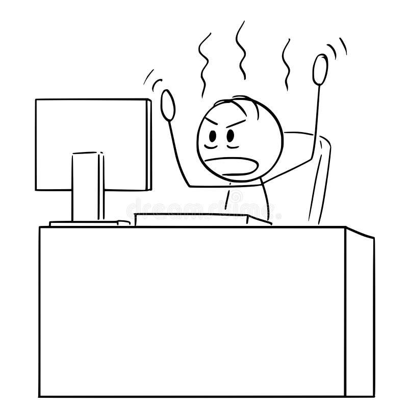 Bande dessin?e de l'homme ou de l'homme d'affaires f?ch? Working sur l'ordinateur de bureau illustration libre de droits