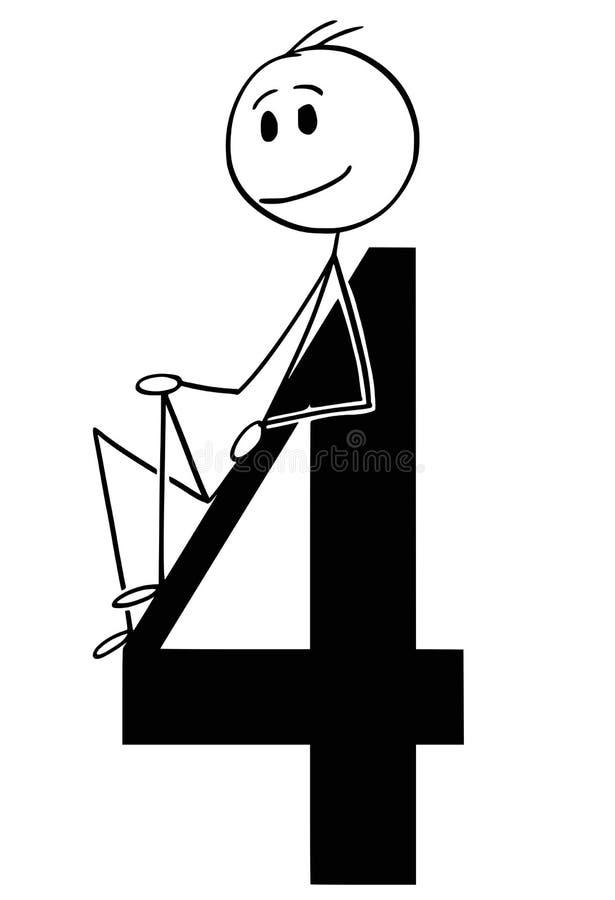 Bande dessinée de l'homme ou d'homme d'affaires Holding Big Number quatre ou 4 illustration stock