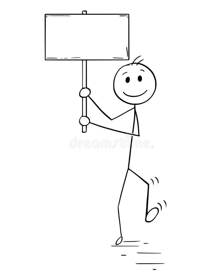Bande dessinée de l'homme ou de l'homme d'affaires Walking avec le signe vide ou vide illustration stock