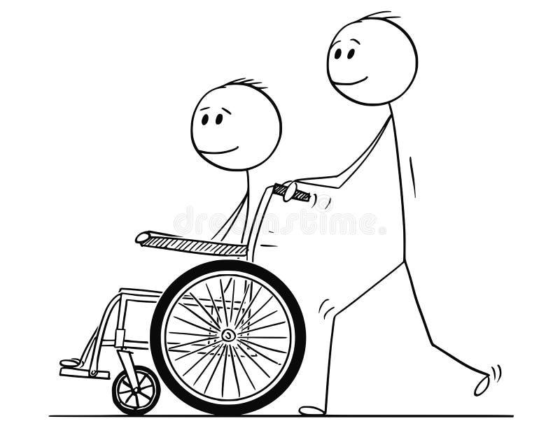 Bande dessinée de l'homme poussant un fauteuil roulant avec l'homme handicapé illustration libre de droits