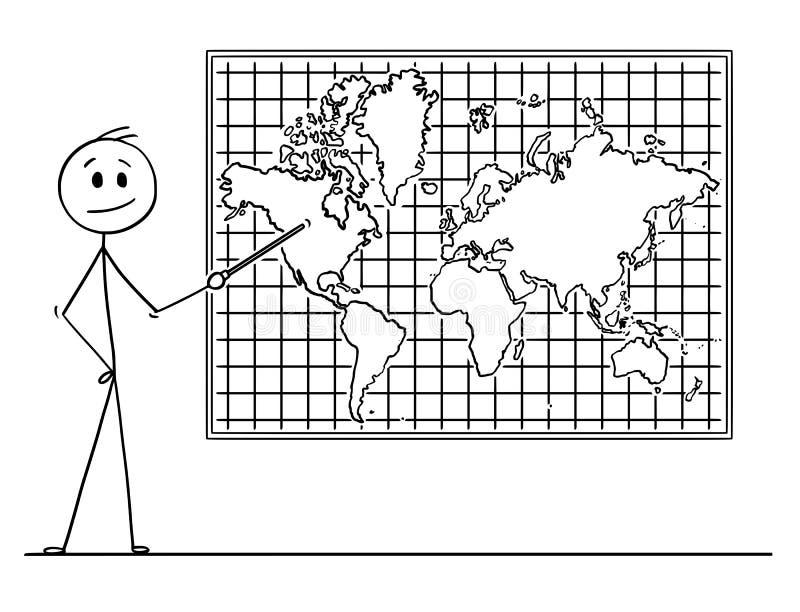 Bande dessinée de l'homme se dirigeant au continent de l'Amérique du Nord sur la carte du monde de mur illustration libre de droits