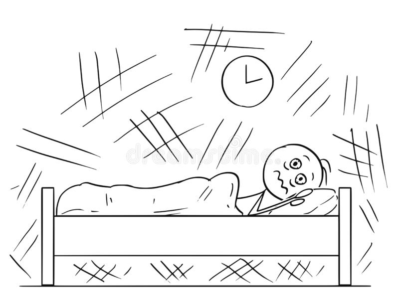 Bande dessinée de l'homme se situant dans le lit et incapable de dormir en raison de l'insomnie illustration libre de droits