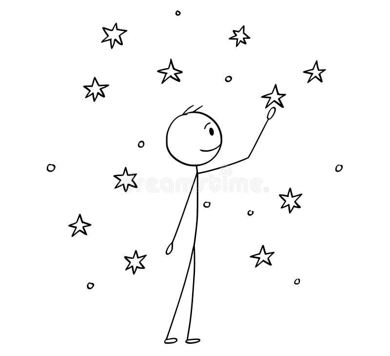 Bande dessinée de l'homme touchant des étoiles sur le ciel illustration libre de droits