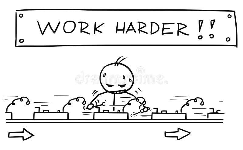 Bande dessinée de l'homme travaillant à la chaîne de montage avec le signe ci-dessus illustration de vecteur