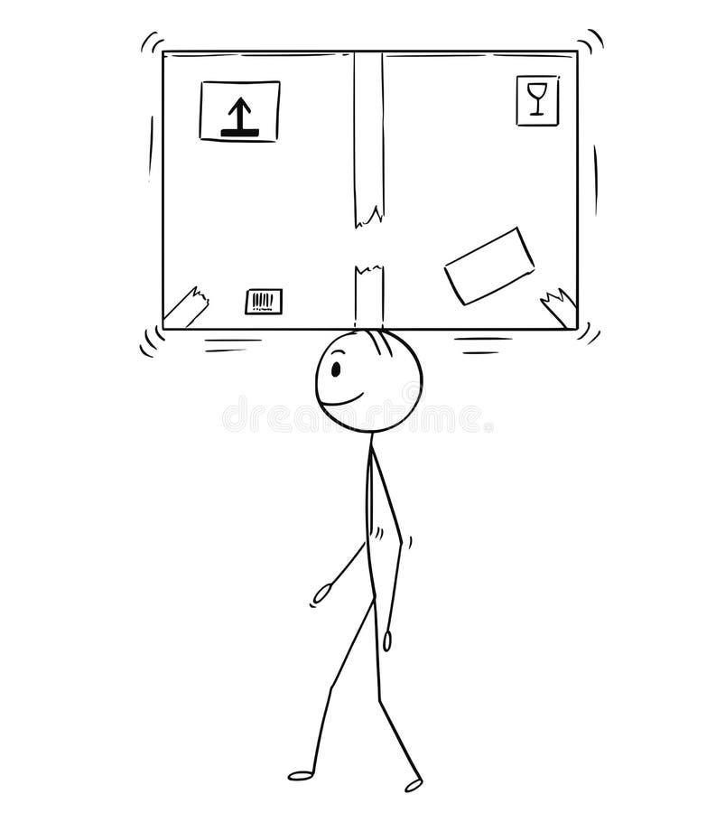 Bande dessinée de la boîte de papier de l'homme ou de Balancing Big Cardboard d'homme d'affaires sur la tête illustration de vecteur