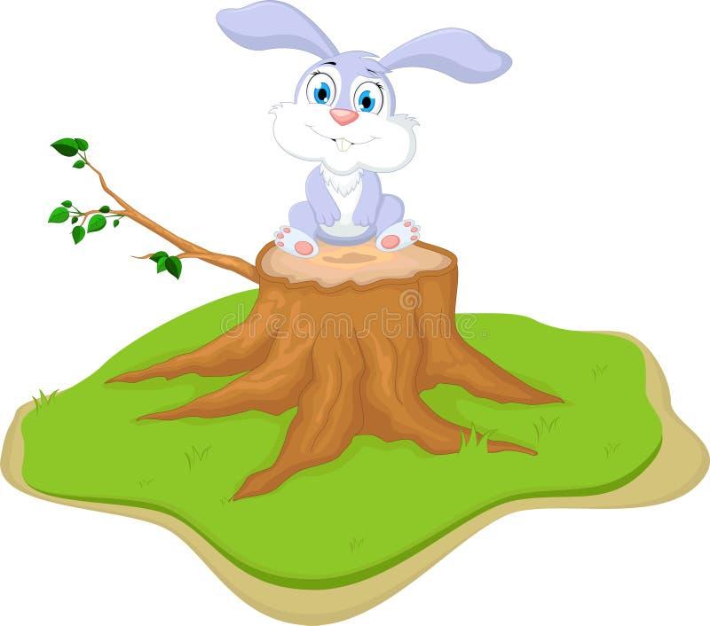 Bande dessinée de lapin se reposant sur le tronçon d'arbre illustration de vecteur