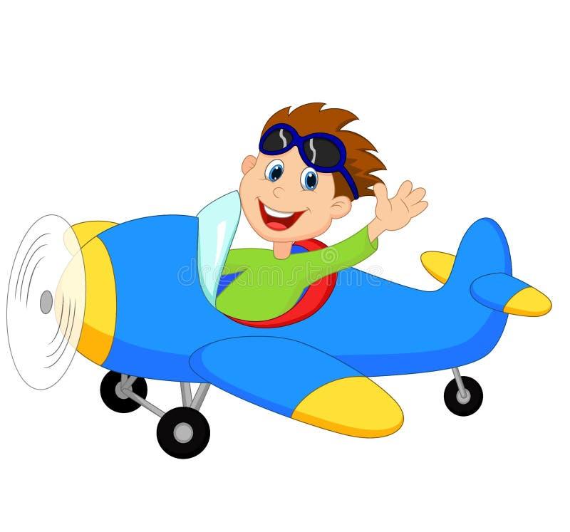 Bande dessinée de Little Boy exploitant un avion illustration stock