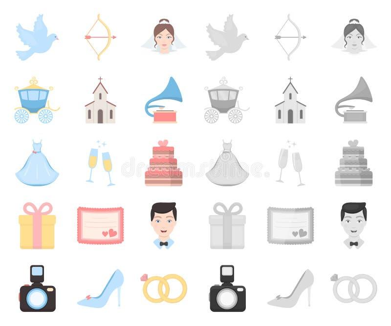 Bande dessinée de mariage et d'attributs, icônes mono dans la collection réglée pour la conception Web d'actions de symbole de ve illustration libre de droits