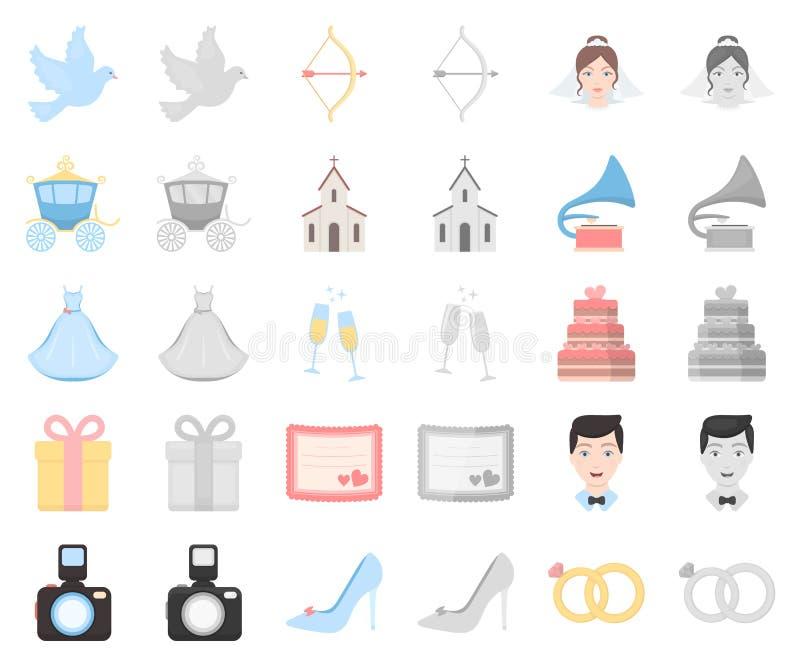 Bande dessinée de mariage et d'attributs, icônes de monochrom dans la collection réglée pour la conception Symbole de vecteur de  illustration libre de droits