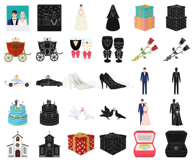Bande dessinée de mariage et d'attributs, icônes noires dans la collection réglée pour la conception Actions de symbole de vecteu illustration de vecteur
