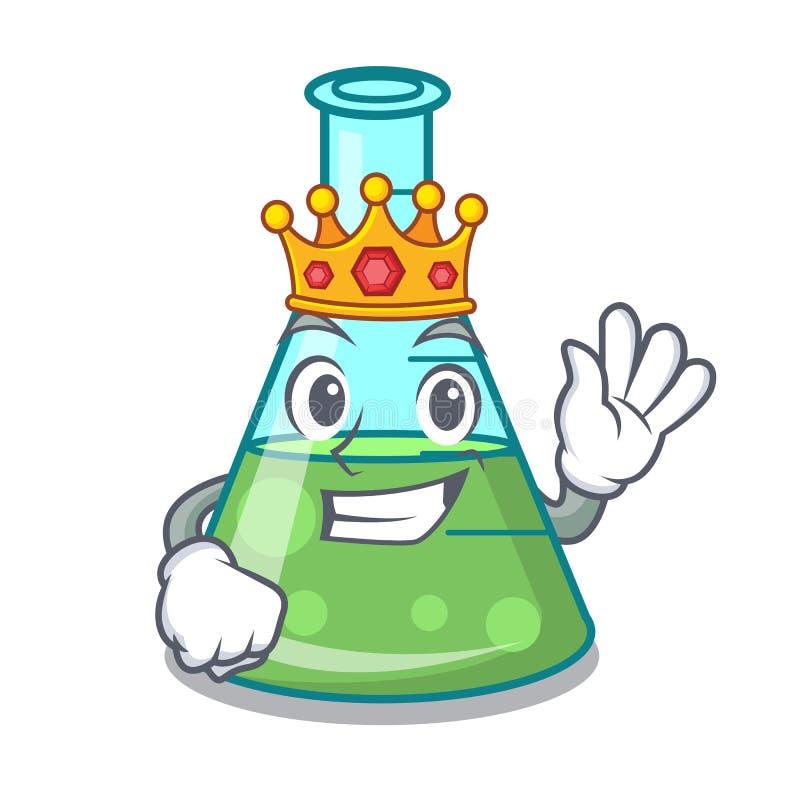 Bande dessinée de mascotte de becher de la science de roi illustration de vecteur