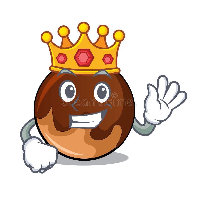 Bande dessinée de mascotte de beignet de chocolat de roi illustration de vecteur