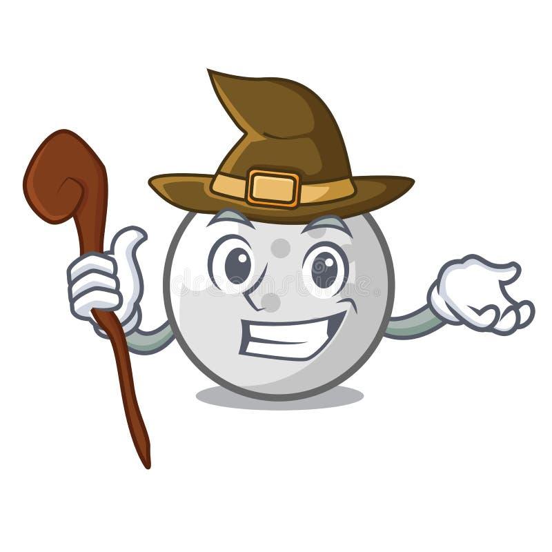 Bande dessinée de mascotte de boule de golf de sorcière illustration libre de droits