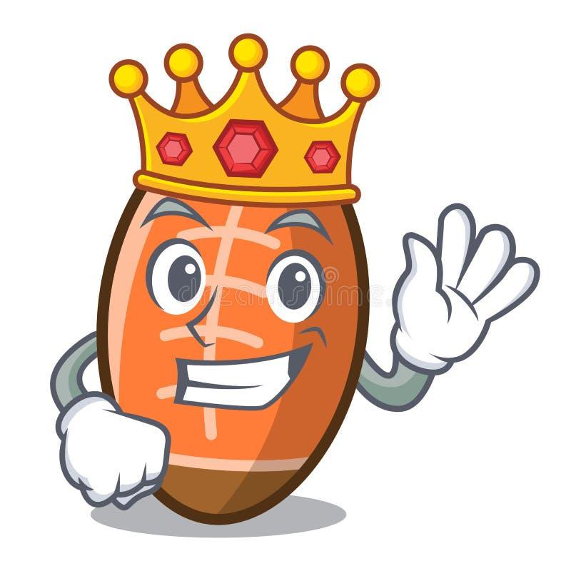 Bande dessinée de mascotte de boule de rugby de roi illustration libre de droits