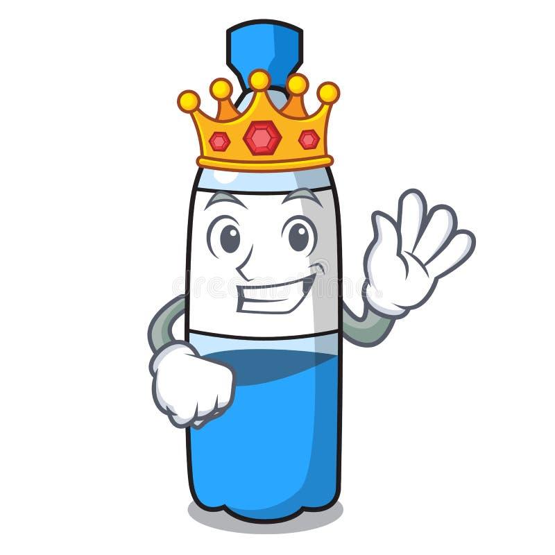 Bande dessinée de mascotte de bouteille d'eau de roi illustration libre de droits