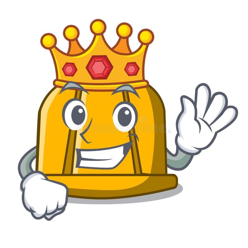 Bande dessinée de mascotte de casque de construction de roi illustration de vecteur