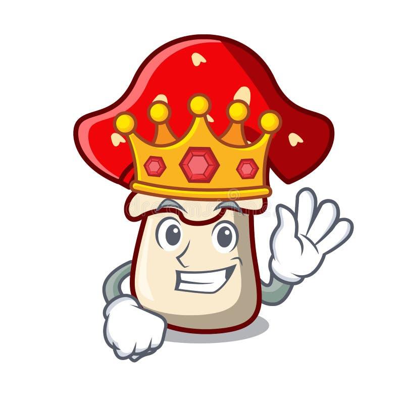 Bande dessinée de mascotte de champignon d'amanite de roi illustration de vecteur
