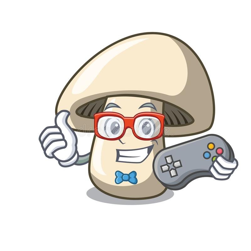 Bande dessinée de mascotte de champignon de champignon de paris de Gamer illustration stock
