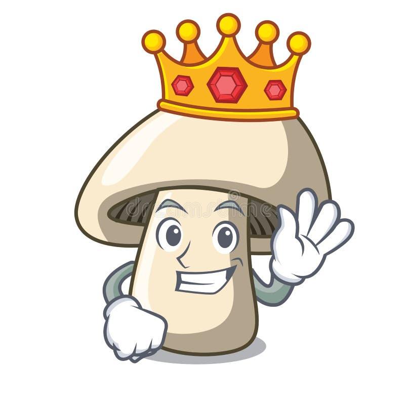 Bande dessinée de mascotte de champignon de champignon de paris de roi illustration libre de droits