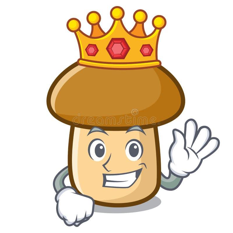 Bande dessinée de mascotte de champignon de porcini de roi illustration de vecteur