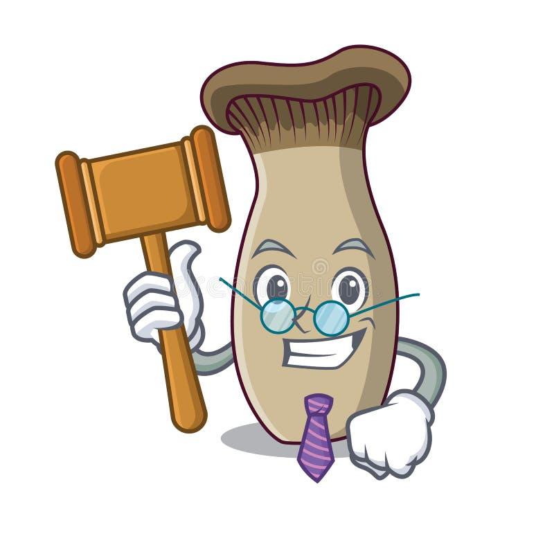 Bande dessinée de mascotte de champignon de trompette de roi de juge illustration de vecteur