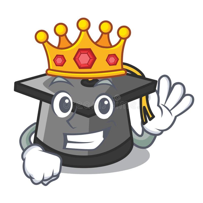 Bande dessinée de mascotte de chapeau d'obtention du diplôme de roi illustration de vecteur